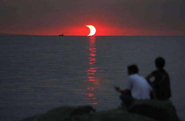 An eclipsed sunset.