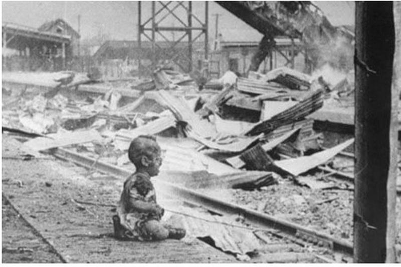 Disturbing site from a war torn railway station