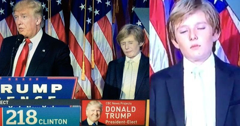 news world barron trump becomes instant meme after caught feeling sleepy during daddy speech